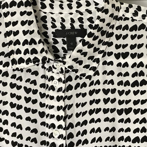 J. CREW Silk Black Hearts Button-Down Blouse Sz 12